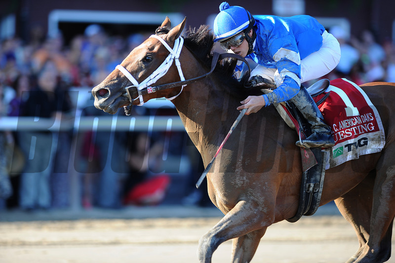 Questing wins the 2012 TVG Coaching Club American Oaks.<br /> Coglianese Photos