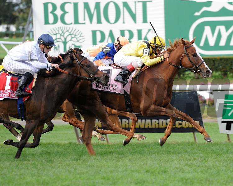 Nahrain captures TheGrade I Flower Bowl Invitational Stakes at Belmont Park, New York, 9/29/12....Ridden by John Velazquez....Zagora was second with Ramon Dominguez up....<br /> Coglianese Photos