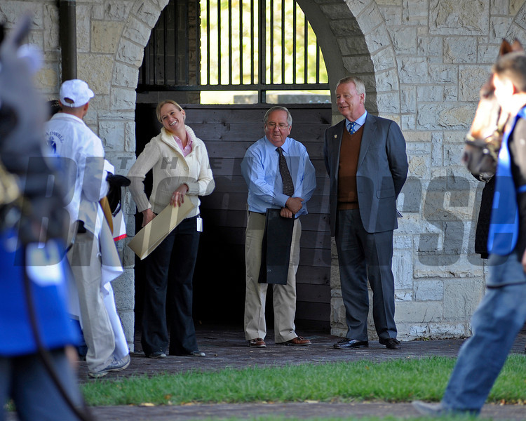 Caption: Stuart S. Janney, right, with trainer Shug McGaughey and staff as Data Link walks in the saddling area.<br /> Wise Dan with Jose Lezcano up wins the Shadwell Turf Mile (gr. I) at Keeneland on Oct. 6, 2012.<br /> Keeneland<br /> ShadwellTurfMile1  image848<br /> Photo by Anne M. Eberhardt