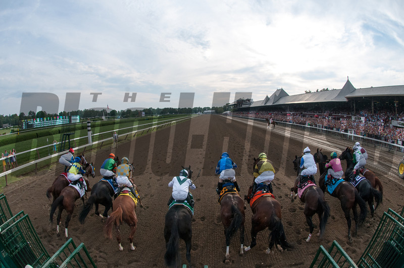 Alpha and Golden Ticket dead heat in the 2012 Travers.<br /> Coglianese Photos/Adam Mooshian