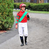 Joel Rosario on his way to the paddock for The Jockey Club Gold Cup...<br /> © 2012 Rick Samuels/The Blood-Horse