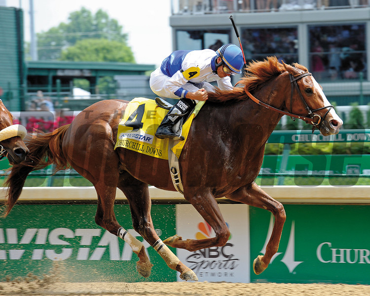 Caption:  Shackleford with Jesus Castanonwins the Churchill Downs (gr. II).<br /> Kentucky Derby and Kentucky Oaks contenders on the track at Churchill Downs near Louisville, Ky. on May 5, 2012.<br /> Churchill Downs1  image685<br /> PHoto by Anne M. Eberhardt