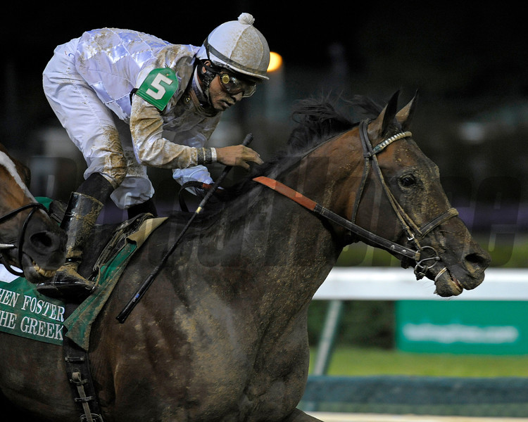 Caption: <br /> Ron the Greek with Jose Lezcano wins the Stephen Foster Handicap (gr. I)  at Churchill Downs on June 16, 2012, near Louisville, Ky.<br /> StephenFoster image<br /> Anne M. Eberhardt photo