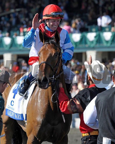 Graham celebrates<br /> Karlovy Vary with James Graham up wins the Central Bank Ashland (gr. I) at Keeneland in Lexington, Ky. on April 7, 2012<br /> Photo by Anne M. Eberhardt