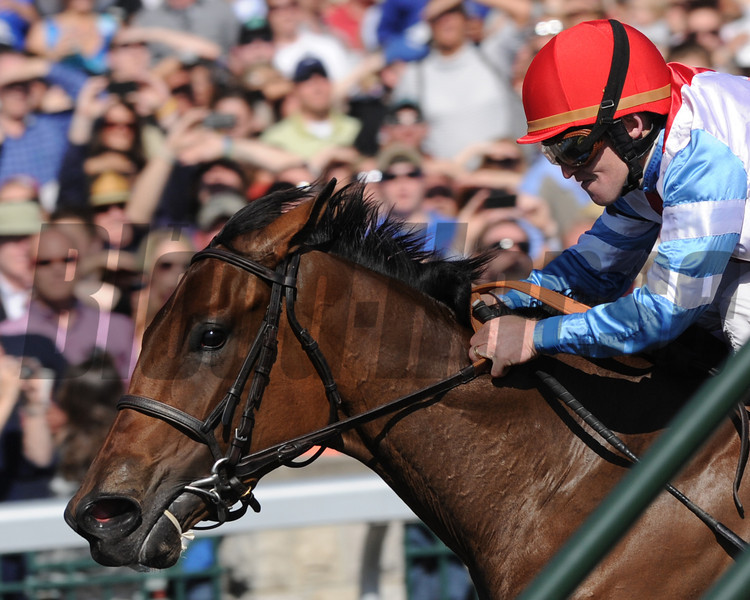 Keeneland Race Course, Lexington, KY 4/7/12 <br /> Karlovy Vary, James Graham up, wins the Ashland Stakes<br /> Photo by Mathea Kelley