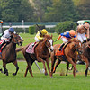 L-R<br /> Dream Peace, Nahrain, Zagora, I'm A Dreamer battle it out to the wire in the Gr1 Flower Bowl Invitational...<br /> Nahrain, John Velazquez up, won the 1 1/4 mi race on a soft track, in 2:05 56 for trainer Roger Varian...<br /> © 2012 Rick Samuels/The Blood-Horse
