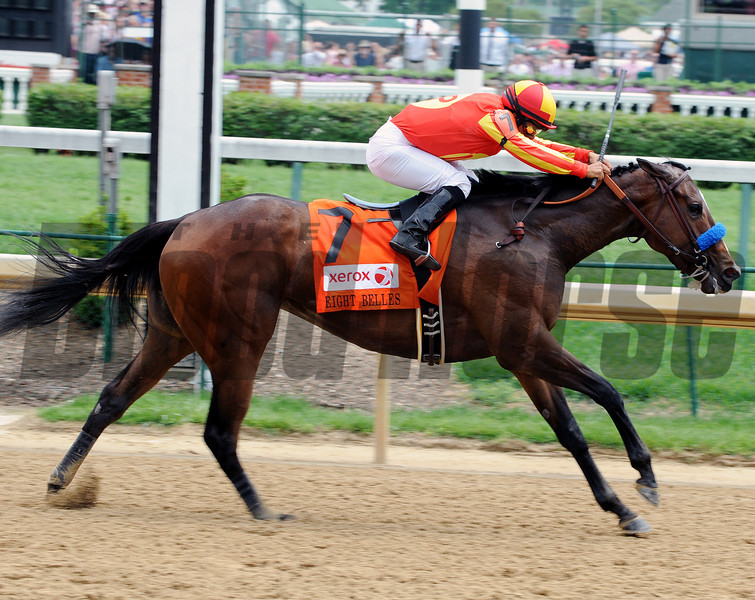 Contested wins the 2012 Eight Belles Stakes.<br /> Photo by Dave Harmon