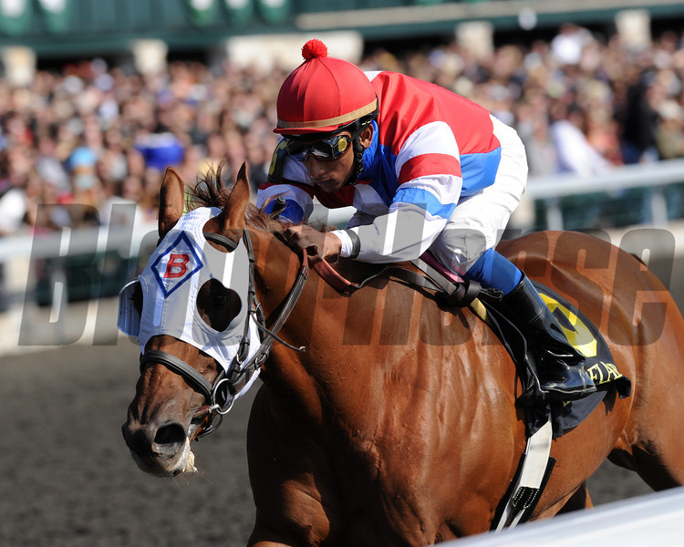 Groupie Doll, Rajiv Maragh up wins the Thoroughbred Club of America, Keeneland Race Course, Lexingtion KY 10.6.12 photo by Mathea Kelley