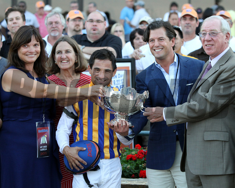 The connections of My Miss Aurelia receive the trophy after she won the 43rd Running of the Cotillion Stakes (GI) at Parx on September 22, 2012.<br /> Photo by Chad B. Harmon