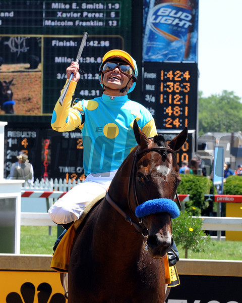 Paynter wins an allowance race at Pimlico on May 19, 2012. Mike Smith up.<br /> <br /> Photo by Dave Harmon
