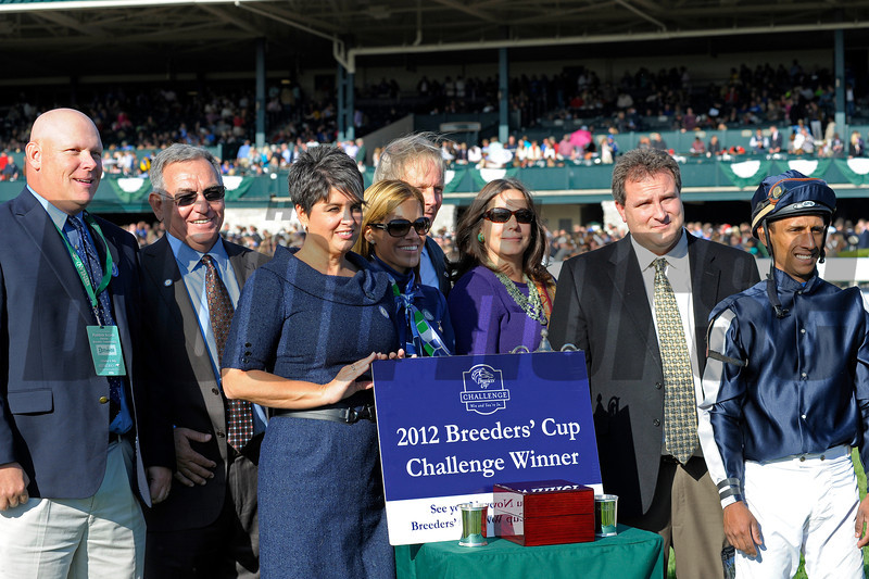 Caption: Joha with Rajiv Maragh up wins the Dixiana Breeders' Futurity  (gr. I) at Keeneland on Oct. 6, 2012.<br /> Keeneland<br /> ShadwellTurfMile1  image812<br /> Photo by Anne M. Eberhardt