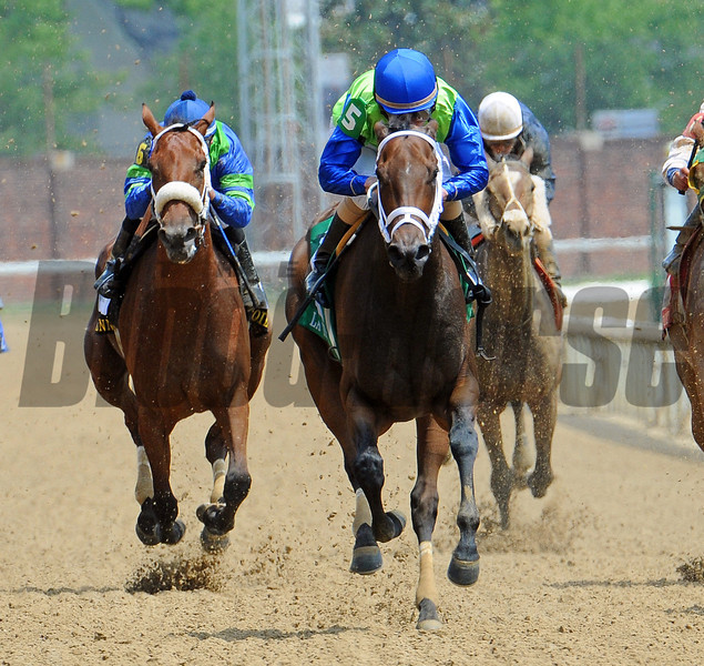 Juanita, Ramon Dominguez up, wins the Gr2 La Troienne at Churchill Downs.<br /> © 2012 <br /> Photo by Rick Samuels/The Blood-Horse