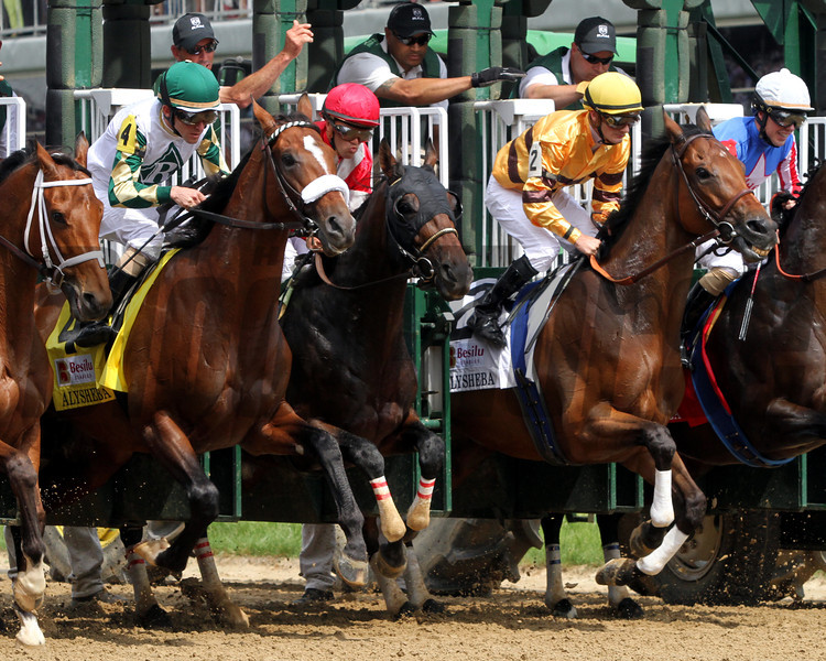Successful Dan with Julien Leparoux (1st Place), Fort Larned with Javier Castellano (2nd Place), and Mucho Macho Man with Ramon Dominguez (3rd place) leave the starting gate for the 9th Running of the Alysheba at Churchill Downs on May 4, 2012.<br /> Photo by Chad Harmon