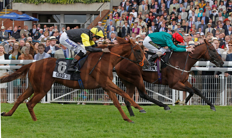 Goodwood August 2, 2012 The Audi Richmond Stakes<br /> Heavy Metal (right) wins from Master of War<br /> Photo by: Trevor Jones