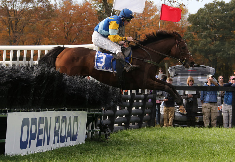 #3 Pierrot Lunaire with jockey Bernard Dalton clears a fence on the course to win The Grand National at Far Hills Race Meeting at Moorland Farms in Far Hills, N. J. Oct. 20, 2012.  (photo by Tom Boland)