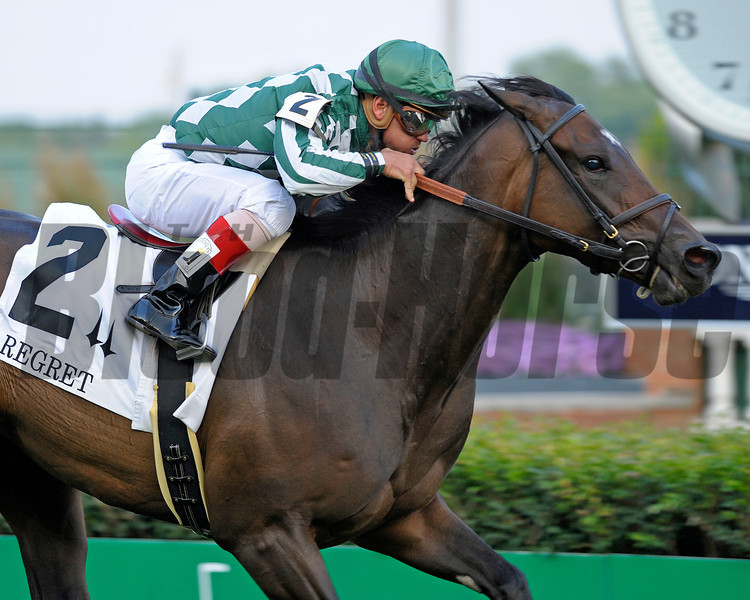 Caption: <br /> Centre Court with Javier Castellano up wins the Regret (gr. III)  at Churchill Downs on June 16, 2012, near Louisville, Ky.<br /> Anne M. Eberhardt photo