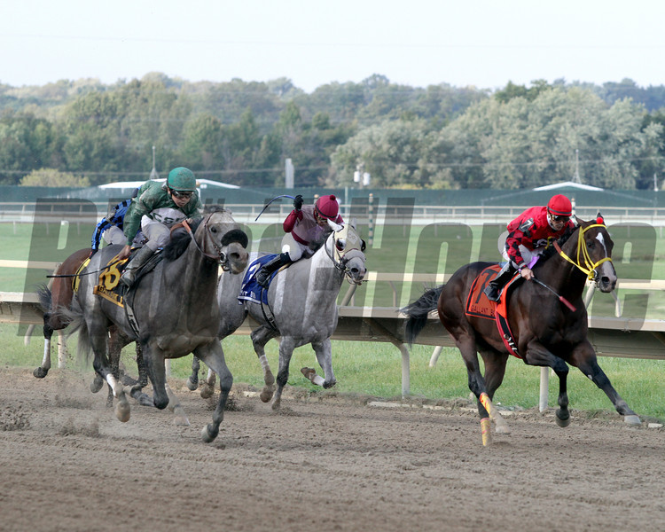 Well Spelled w/Pablo Fragoso up run down Trinniberg w/Willie Martinez up to win the 22nd Running of the Gallant Bob Stakes at Parx on September 22, 2012.<br /> Photo by Chad B. Harmon