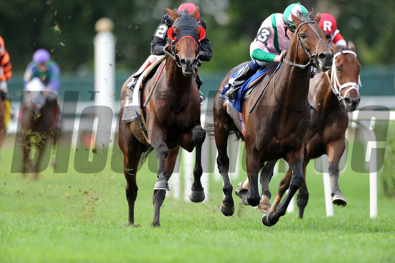 Point of Entry wins the 2012 Joe Hirsch Turf Classic Invitational at Belmont Park.<br /> Coglianese Photos