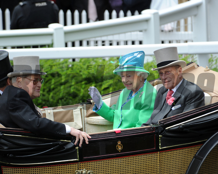 Queen Elizabeth II at the 2012 Royal Ascot.<br /> Photo by Mathea Kelley