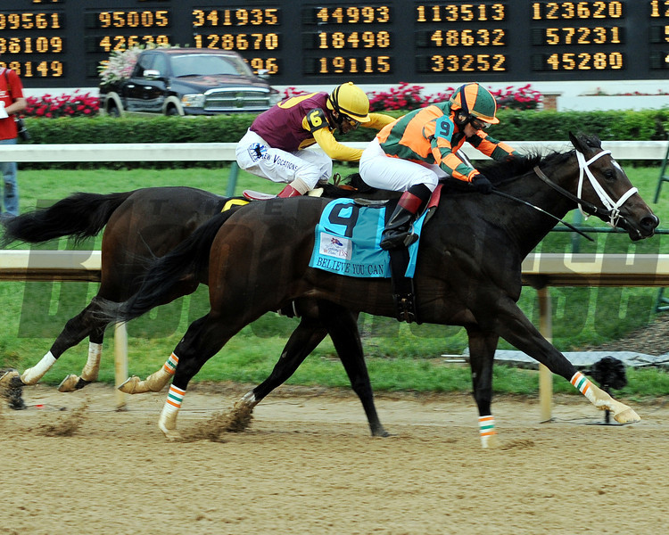 Believe You Can wins the Kentucky Oaks.<br /> © 2012 Dave Harmon