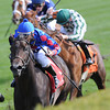 Eden Prairie, Shaun Bridgmohan up, wins 2 yr old Maiden race, Keeneland Race Track, Lexington, KY 10/7/12 photo by Mathea Kelley