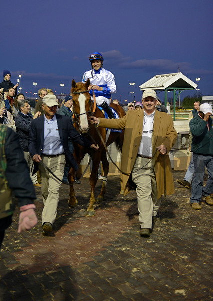 Caption: Breeders/owners Michael Lauffer and Bill Cubbedge lead Shackleford in to wnr circle.<br /> Shackleford wins the Clark Handicap at Churchill Downs on Nov. 23, 2012, in Louisville, Ky.<br /> Clark Origs 2 image799<br /> Photo by Anne M. Eberhardt