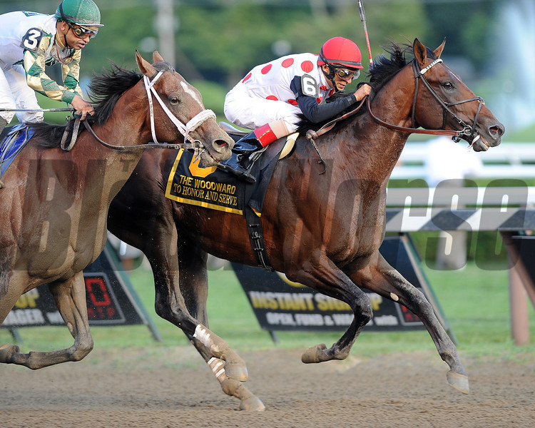 To Honor and Serve wins the 2012 Woodward Stakes.<br /> Coglianese Photos/Courtney Stafford