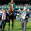 Caption:  Donegal Racing owner Jerry Crawford, right, leads, Dullahan into winners circle.<br />  Dullahan with Kent Desormeaux up wins the Toyota Blue Grass (gr. I)  on April 14, 2012, at Keeneland in Lexington, Ky.<br /> Photo by Anne M. Eberhardt