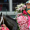 Believe You Can ridden by jockey Rosie Napravnick is joined in the winner's circle by owner Brerton Jones, former governor of Kentucky after his horse out dueled Broadway's Alibi ridden by John Velasquez to win the 138th running of the Kentucky Oaks at Churchill Downs in Louisville, KY May 5, 2012. <br /> Photo by Skip Dickstein.