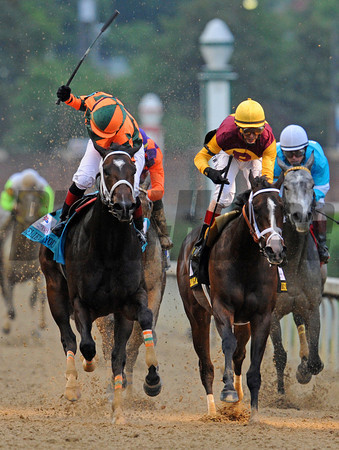 Believe You Can, Rosie Napravnik up, holds off Broadway's Alibi, to win the Gr1 Kentucky Oaks at Churchill Downs... © 2012 Rick Samuels/The Blood-Horse