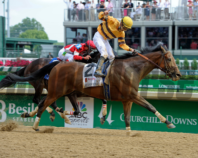 Caption:   Successful Dan with Julien Leparoux up wins the Alysheba (gr. II)<br /> Kentucky Derby and Kentucky Oaks contenders on the track at Churchill Downs near Louisville, Ky. on May 3, 2012. Fort Larned in second.<br /> Alysheba1  image468<br /> Photo by Anne M. Eberhardt
