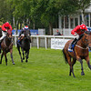 Racing at Newmarket, 13/7/12. The Darley July Cup.<br /> Mayson ridden by Paul Hannigan wins from The Cheka (left) and Society Rock.