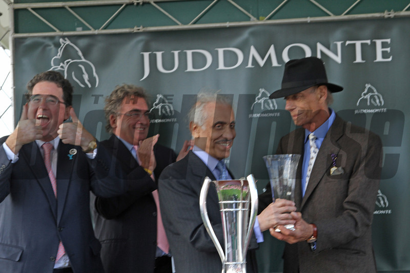 Racing from York 22/8/12. Juddmonte International.<br /> Victorious Frankel Team Teddy Grimthorpe, Phillip Michell, Prince K Abdulla and Trainer Sir Henry Cecil<br /> Photo by Trevor Jones