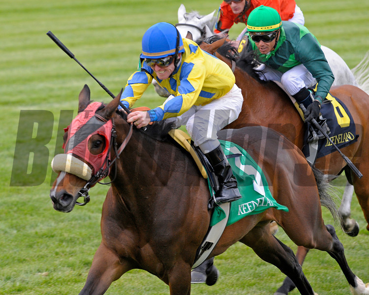 Caption:  <br /> Daisy Devine with James Graham up wins the Jenny Wiley Stakes (gr. I) on April 14, 2012, at Keeneland in Lexington, Ky.<br /> KEESpring2012 Jenny Wiley1 image252<br /> PHoto by Anne M. Eberhardt