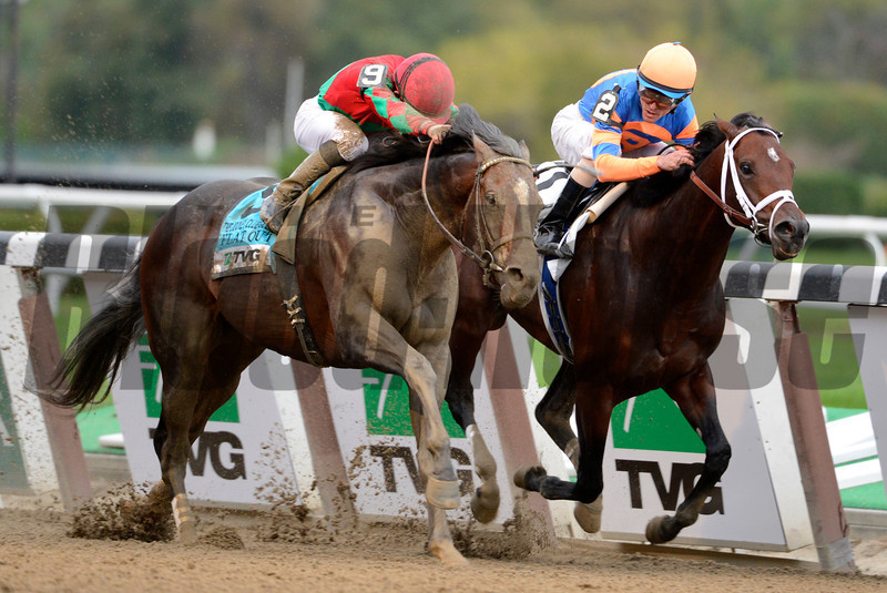 #9 Flat Out with jockey Joel Rosario in the irons, left surges past Stay Thirsty with jockey Ramon Dominguez to win the 94th running of The Jockey Club Gold Cup Invitational at Belmont Park in Elmont, N.Y. Sept. 29, 2012.    <br /> © 2012 Skip Dickstein