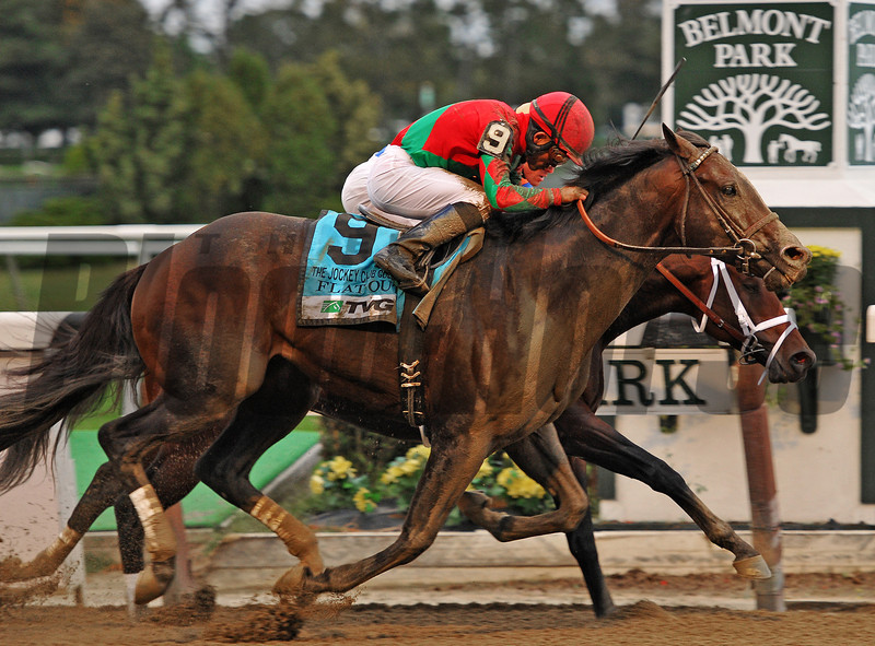 Flat Out, Joel Rosario up, hold off Stay Thirsty, to win the Gr1 Jockey Club Gold Cup for the second year in a row.<br /> Bill Mott trains the winner for Preston Farms...<br /> Time for the mile and a half race was, 2:01 44<br /> © 2012 Rick Samuels/The Blood-Horse
