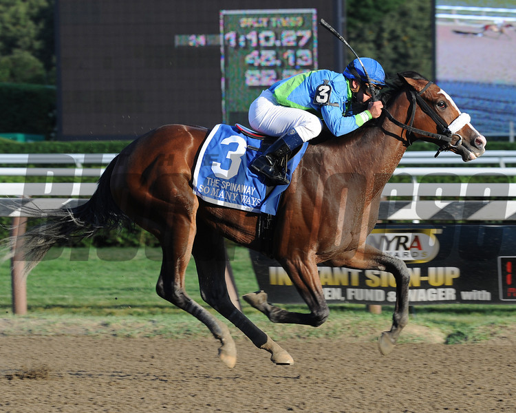 So Many Ways wins the 2012 Spinaway Stakes.<br /> Photo by Coglianese Photos