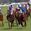 Racing from Doncaster, 15/9/12. Ladbrokes St. Leger.<br /> Encke (Blue right) wins from Camelot (Purple stripes)<br /> Photo by Trevor Jones