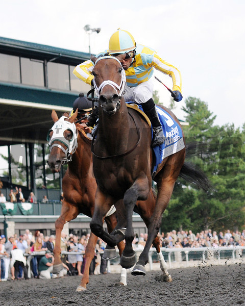 Spring in the Air wins the Darley Alcibiades; Patrick Husbands up   , Keeneland Race Track, Lexington, KY 10/5/12 photo by Mathea Kelley