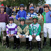 Prior to the 33rd Running of the Pennsylvania Derby jockeys (From Left to Right, Back Row)  Stewart Elliott, Ramon Dominguez, Corey Nakatani, David Cohen, (Front Row) Irad Ortiz Jr., Sheldon Russell, & Rajiv Maragh post in the paddock at Parx on September 22, 2012.<br /> Photo by Chad B. Harmon