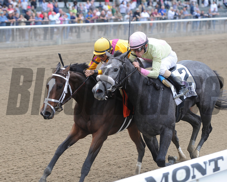 Dreaming of Julia (left) wins the 2012 Frizette.<br /> Coglianese Photos