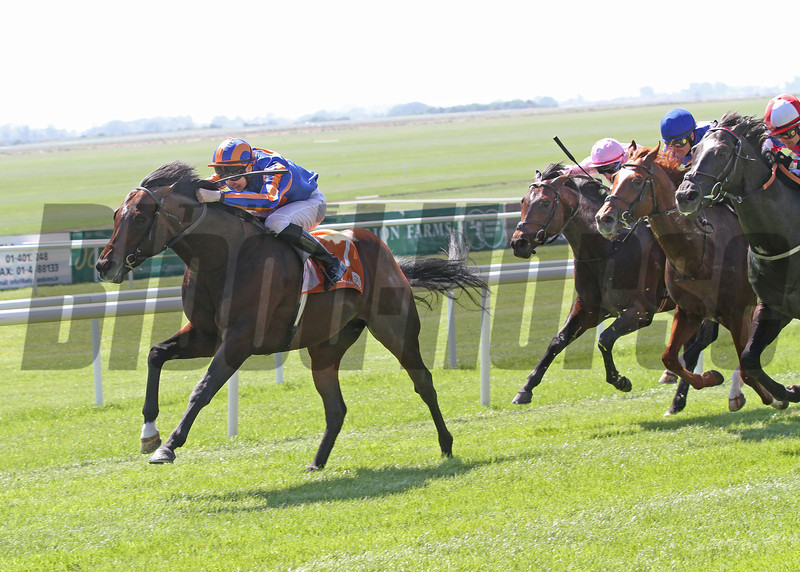 The Curragh 26/5/12. The Abu Dhabi Irish 2,000gns.<br /> Power ridden by Joseph O Brien wins from Reply (pink hat) Daddy Long Legs and Foxtrot Romeo (red and white cap)<br /> Photo by Trevor Jones