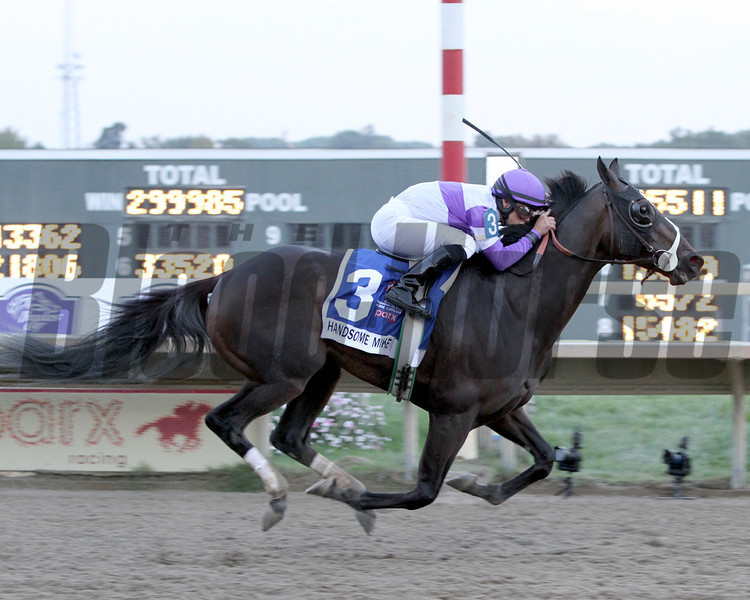 Handsome Mike w/Irad Ortiz Jr. up cross the wire first to win the 33rd Running of the Pennsylvania Derby (GII) at Parx on September 22, 2012.<br /> Photo by Chad B. Harmon