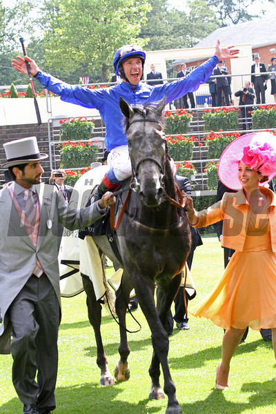 Frankie Dettori celebrates his Gold Cup win aboard Colour Vision at Royal Ascot.<br /> Photo by Trevor Jones