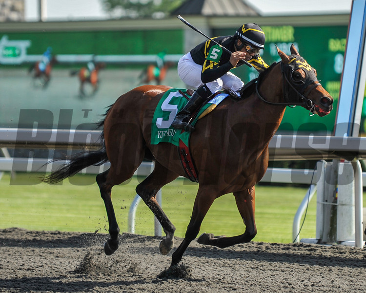 Jeffrey Sanchez celebrates victory aboard Gypsy Robin in the Beaumont Stakes (GII). The 3 year old filly, by Daaher, is owned by Olympia Star, Inc. and trained by Wesley Ward.<br /> Photo by Mallory Haigh