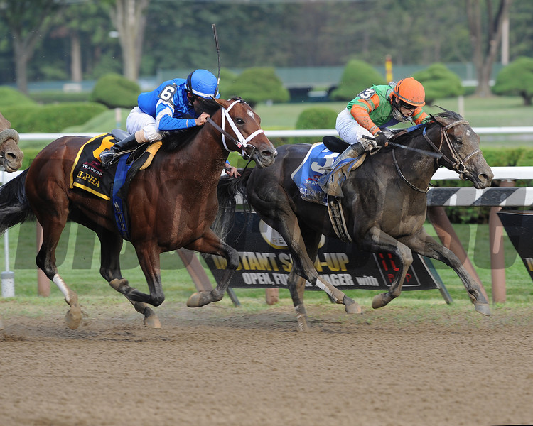Alpha and Golden Ticket deadheat in Travers.<br /> Coglianese Photos