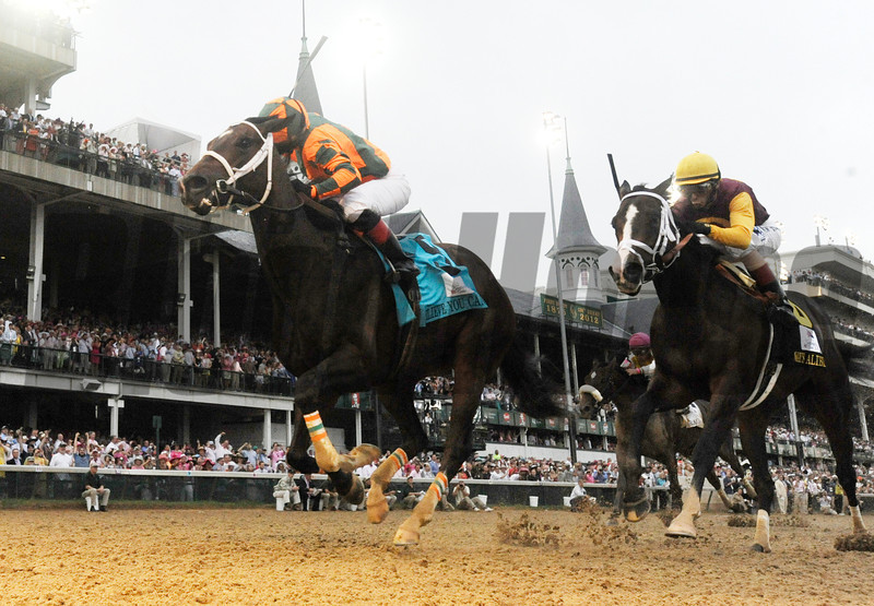 Believe You Can ridden by jockey Rosie Napravnick out dueled Broadway's Alibi ridden by John Velasquez to win the 138th running of the Kentucky Oaks at Churchill Downs in Louisville, KY May 5, 2012.<br /> Photo by Skip Dickstein.