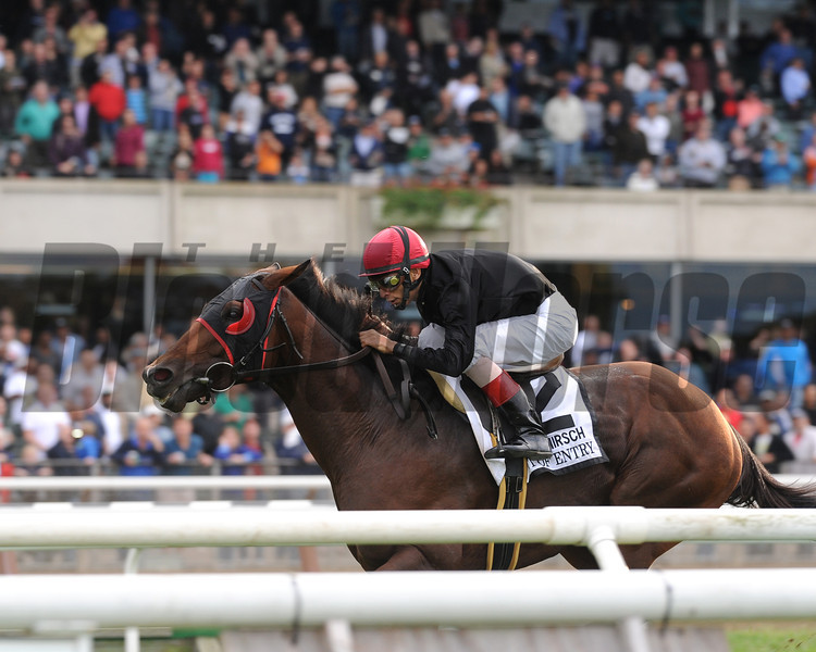 Point of Entry wins the 2012 Joe Hirsch Turf Classic Invitational at Belmont Park.<br /> Coglianese Photos/Susie Raisher