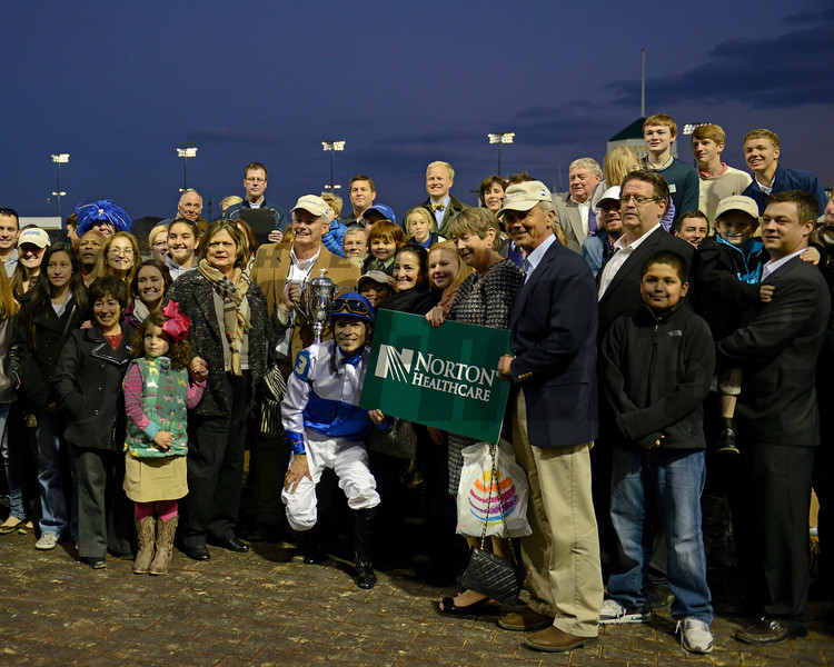 Caption: trophy pres<br /> Shackleford wins the Clark Handicap at Churchill Downs on Nov. 23, 2012, in Louisville, Ky.<br /> Clark Origs 2 image806<br /> Photo by Anne M. Eberhardt