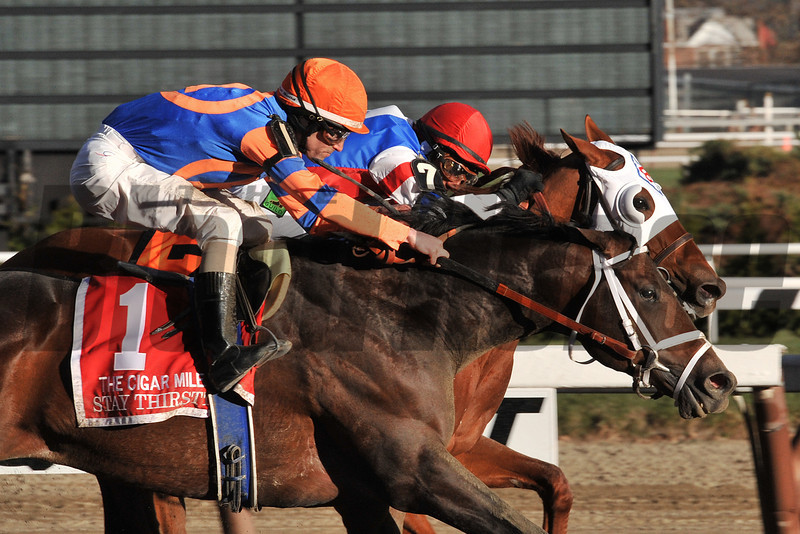 Repole Stables Stay Thirsty, Ramon Dominguez up, wins the Gr.1 Cigar Mile in his final career start, by a nose over Groupie Doll...<br /> © 2012 Rick Samuels/The Blood-Horse